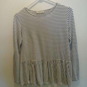 Ginger G Black and White stripe knit peplum top